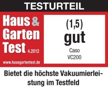 CASO VC 200 Vakuumierer mit Folienbox und Cutter (1390) / doppelte Schweißnaht / natürliches Aufbewahren ohne Konservierungsstoffe / inkl. 2 gratis Profi-Beutel & Vakuumierschlauch für Behälter - 7
