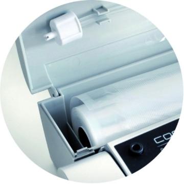 CASO VC 300 Vakuumierer mit Folienbox und Cutter (1392) / regulierbare Vakuumstärke/ doppelte Schweißnaht / natürliches Aufbewahren ohne Konservierungsstoffe / inkl. 2 Profi-Folienrollen & Vakuumiersachlauch für Behälter - 2