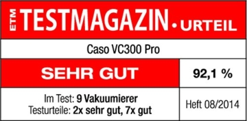 CASO VC 300 Vakuumierer mit Folienbox und Cutter (1392) / regulierbare Vakuumstärke/ doppelte Schweißnaht / natürliches Aufbewahren ohne Konservierungsstoffe / inkl. 2 Profi-Folienrollen & Vakuumiersachlauch für Behälter - 6